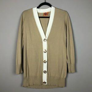 Tory Burch tan logo button cardigan sweater